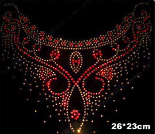 2pc/lo Neckline rhinestones patch red hot fix rhinestone rhinestones fix iron on crystal transfers design for sweater