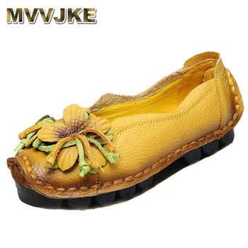 MVVJKE 2018 New Flowers Handmade Genuine Leather Shoes Women Retro Soft Bottom Flat Shoes Summer Canvas Ballet E115 - DISCOUNT ITEM  48 OFF Shoes