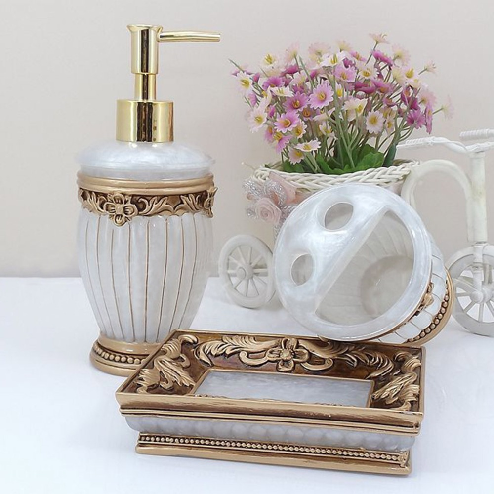 HOMESTIA 5pcs Luxury Roman Resin Bathroom Set Lotion Shampoo ...
