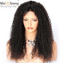 Kinky Curly Human Hair Lace Wig with Baby Hair Brazilian Remy Hair Lace Front Wigs Natural Hairline Middle Part WoWEbony