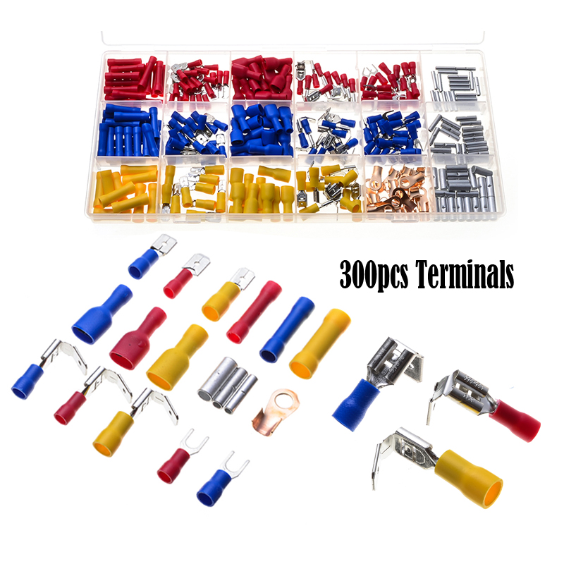 300pcs Electrical Terminators Crimp Terminals Assortment Insulated Cable Wire Fork Spade Connectors Set Red Blue Yellow max shoes max shoes ma095awirp77