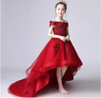 Long Trailing Lace Girl First Communion Dress Off Shoulder Ball Gown Girls Pageant Party Gown Flower Girl Dress for Wedding