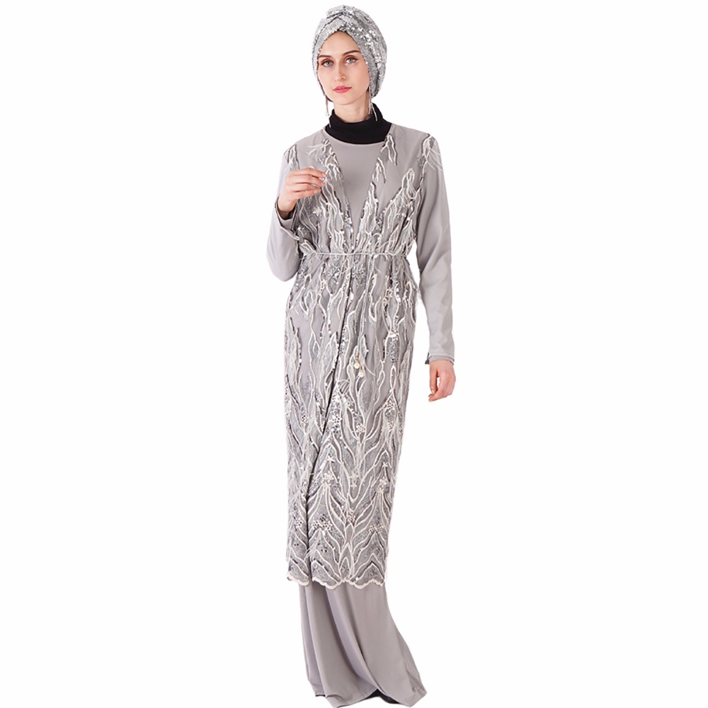 Babalet Women s Muslim Luxury Glitter Sequin Embroidery Feather Abaya Arab  Robe Malaysia Turkey Kaftan Gown Gray Ramadan Kimono 809043227c84
