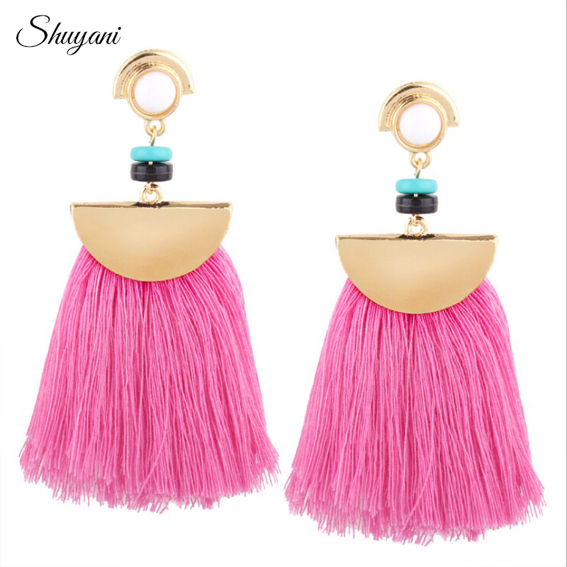 Vintage Weaving Bohemia Tassels Earrings For Women Pink Black Red Blue Brush Tassel Earrings Drops Big Large Chandelier Brincos