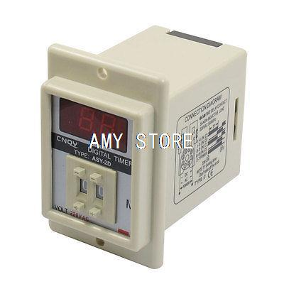 ASY-2D AC 220V 99 Minute Digital Timer Programmable Time Delay Relay White ac 220v power on delay timer relay and socket asy 3d 99s relays