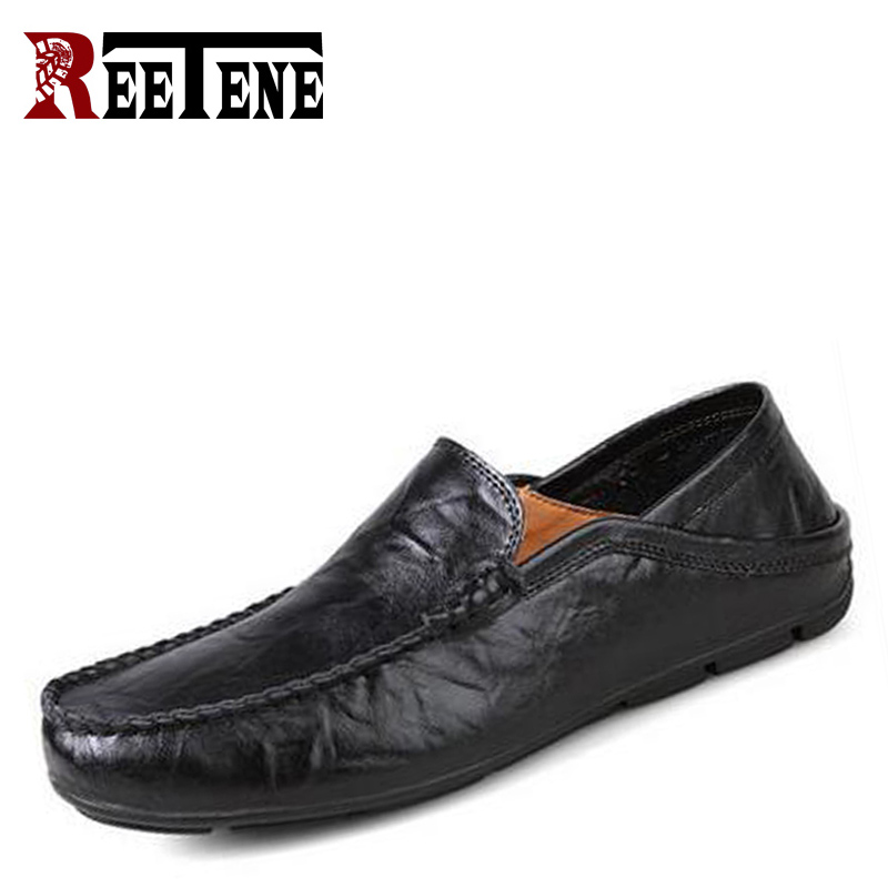 Genuine Leather Cowhide Men's Casual Shoes Soft Bottom Breathable Men Loafters Spring Autumn Comfortable Driving Shoes Plus Size