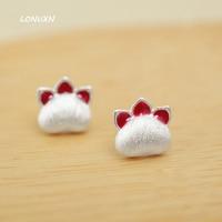 8mm Hoge kwaliteit mooie Koreaanse Meisjes Mode gift eenvoudige leuke Kitten 3D rode Kat Poot 1 paar 925 Sterling Zilver oorbellen