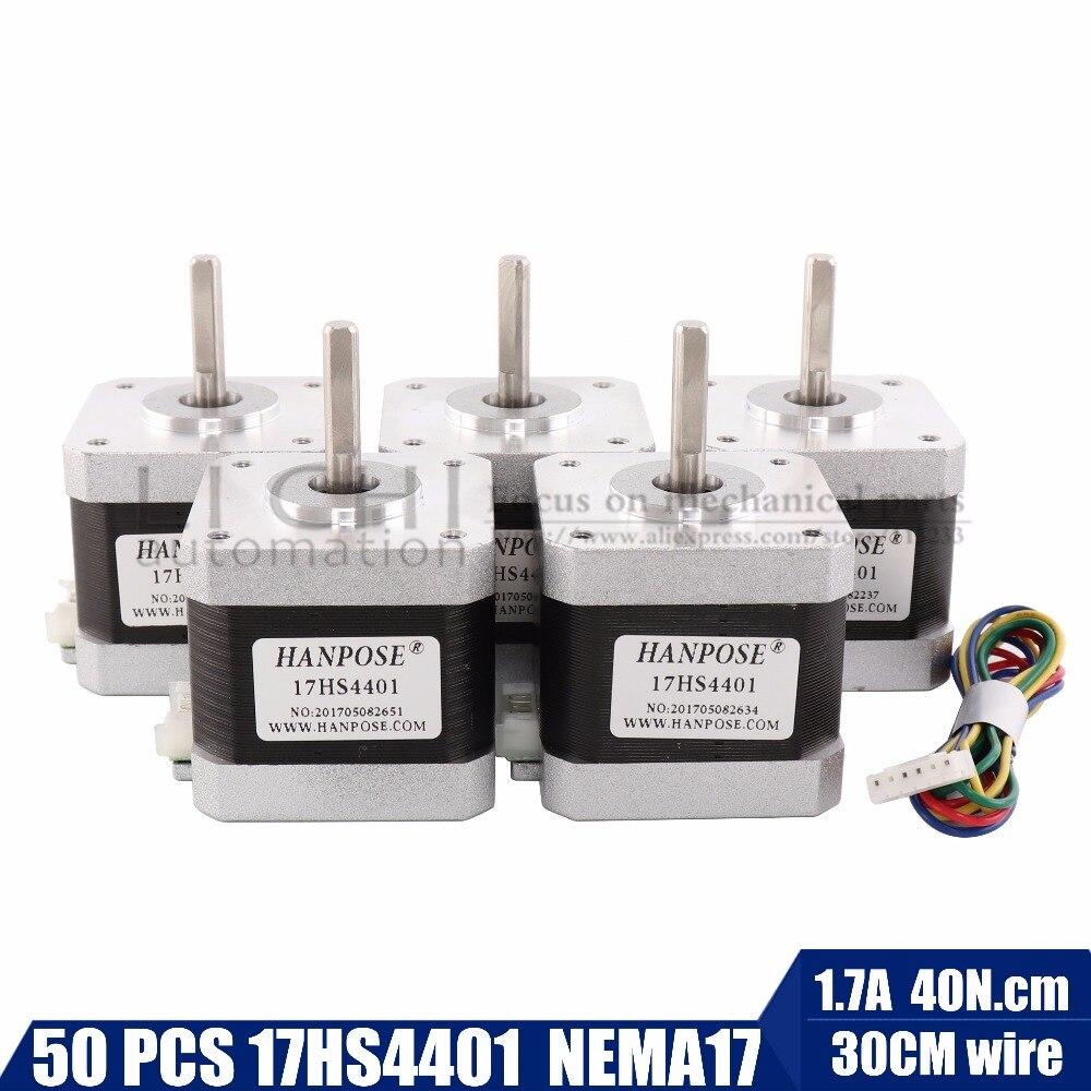 50pcs 4 lead Nema17 Stepper Motor 42 motor Nema 17 motor 42BYGH 1 7A 17HS4401 motor