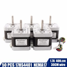 50pcs 4-lead Nema17 Stepper Motor 42 motor Nema 17 motor 42BYGH 1.7A (17HS4401) motor for CNC XYZ