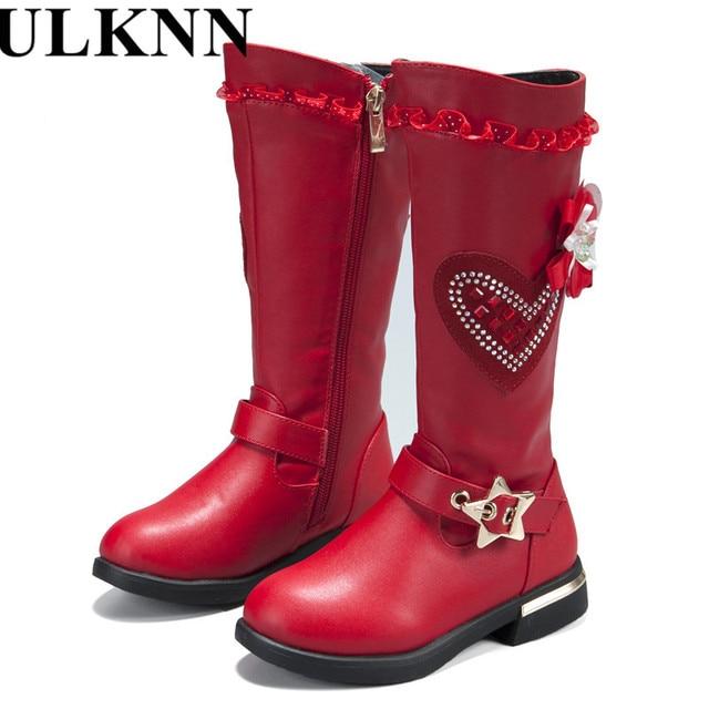 ULKNN New Genuine leather Girls Boots Fashion Female Children Snow Boots  Waterproof warm long-cylinder 12a398eaa1b8