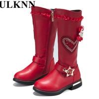 ULKNN New Genuine Leather Girls Boots Fashion Female Children Snow Boots Waterproof Warm Long Cylinder Children