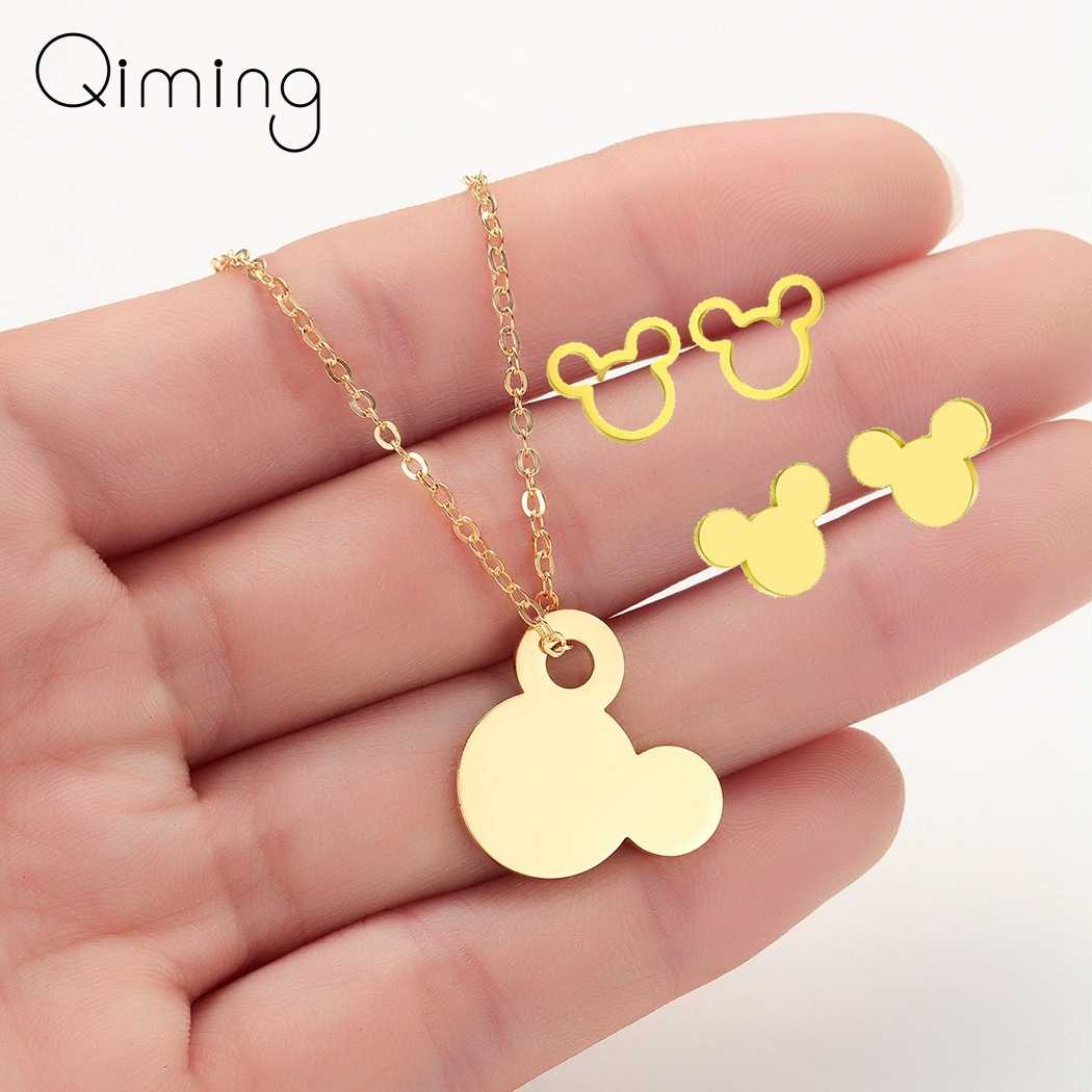 Disney Mickey Mouse Jewelry Sets Women Children Party Birthday Gift Gold Cartoon Cute Earrings Baby Donald Duck Necklace Set