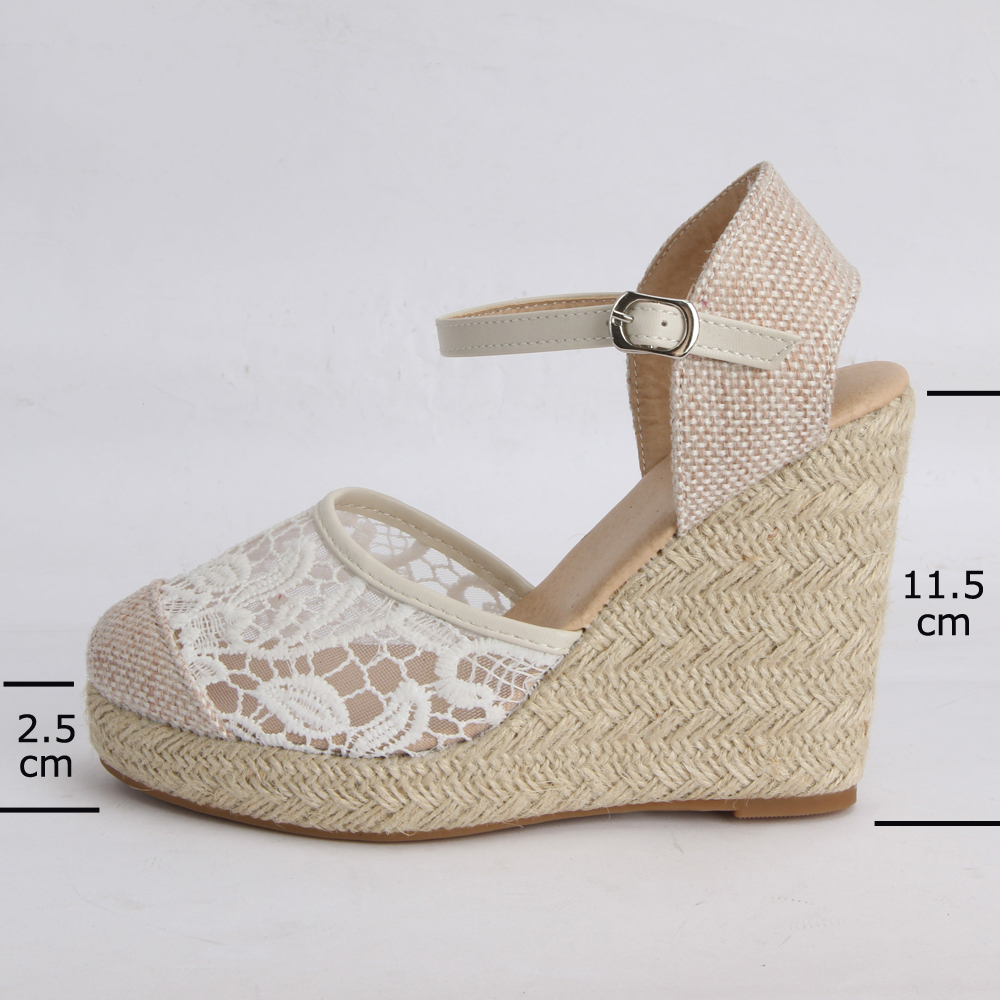 ANNYMOLI Platform Wedge Sandals Women Shoes 2019 Espadrille High Heels Bohemia Lace Wedding Shoes Ladie Sandals Plus Size 34-43