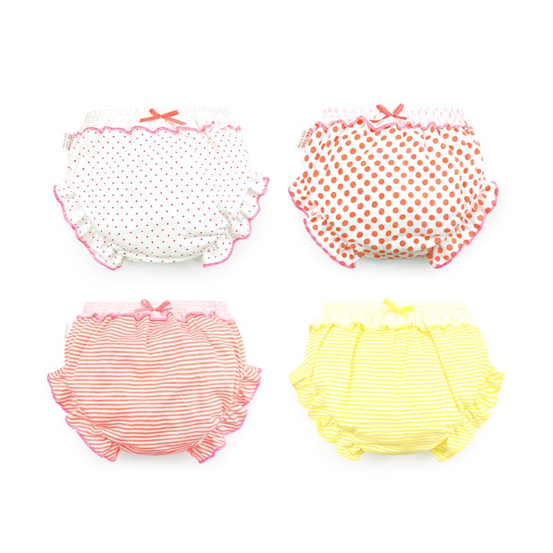 3 Piece/Lot 100% Cotton Baby Panties Girls Briefs Female For Children Underwear Lovely Bow Striped Dots Kids Cute Underpants CN