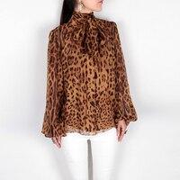 Primavera verão 2016 nova marca de moda colar de arco chiffon de seda blusa mulheres tops sexy animal da cópia do leopardo camisas manga lanterna