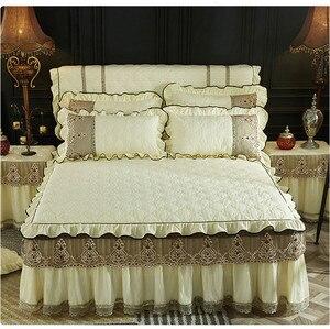 Домашний текстиль для кровати, 1/3 шт., бежевый, синий, розовый роскошный кружевной чехол на матрас, теплое толстое покрывало, постельное бель...