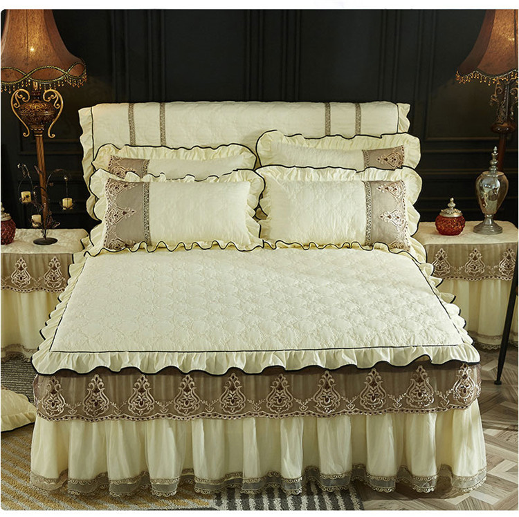 Bed Skirt Home Textile 1/3Pcs Beige Blue Pink Luxury Lace Bedding Mattress cover Warm Thick Bedspread Bed Linen Pillow casesBed Skirt Home Textile 1/3Pcs Beige Blue Pink Luxury Lace Bedding Mattress cover Warm Thick Bedspread Bed Linen Pillow cases