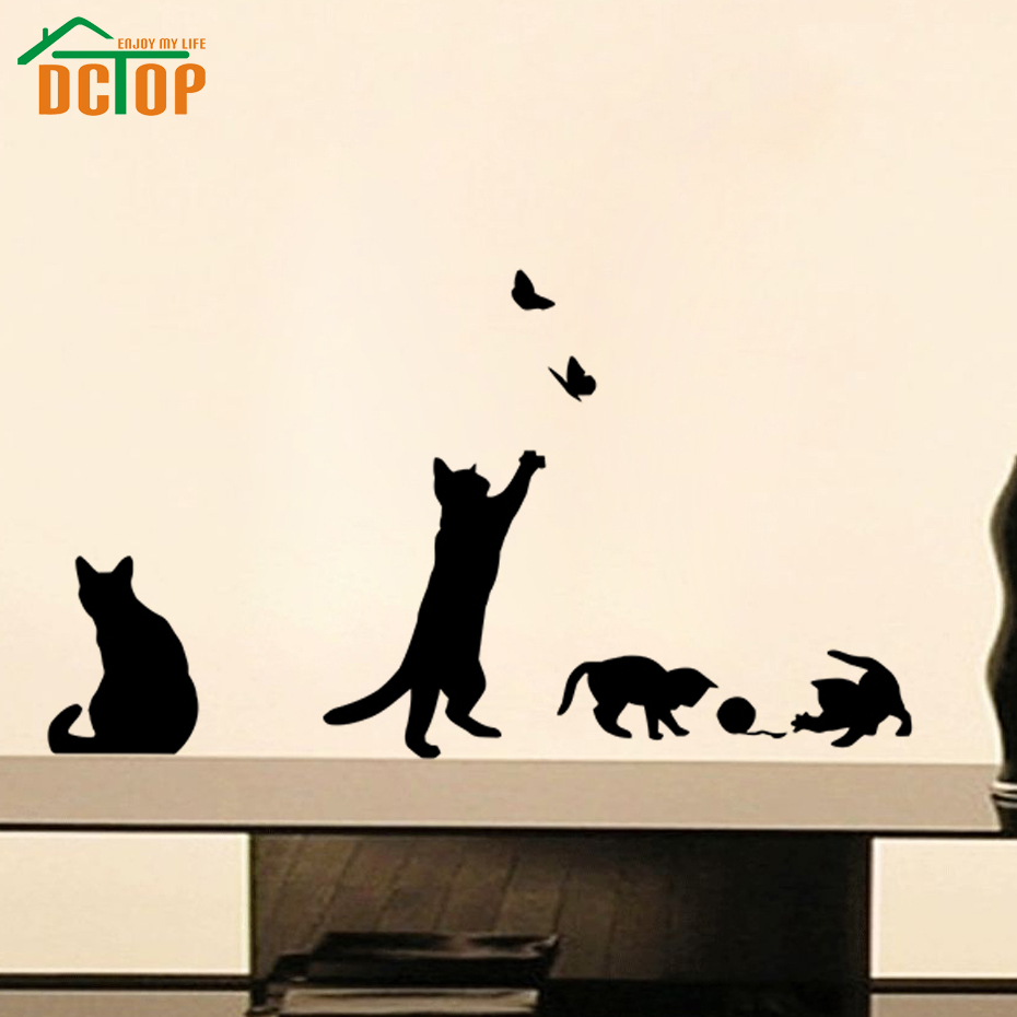 Wall stickers cat - Playing Ball Cats Wall Stickers Butterflies Adhesive Stickers Home Decor Vinyl Wall Decals China