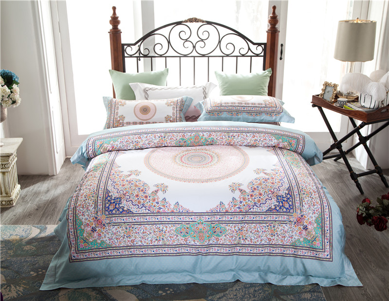 2018 Egyptian cotton Bedding Set plants Print Bedclothes 4pcs Duvet Cover Sets Queen King Size Soft Bed Linen2018 Egyptian cotton Bedding Set plants Print Bedclothes 4pcs Duvet Cover Sets Queen King Size Soft Bed Linen