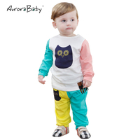 2016 Spring Fashion Kids Clothes Set Include Coat And Pants Cute Owl Baby Boys Girls Clothing
