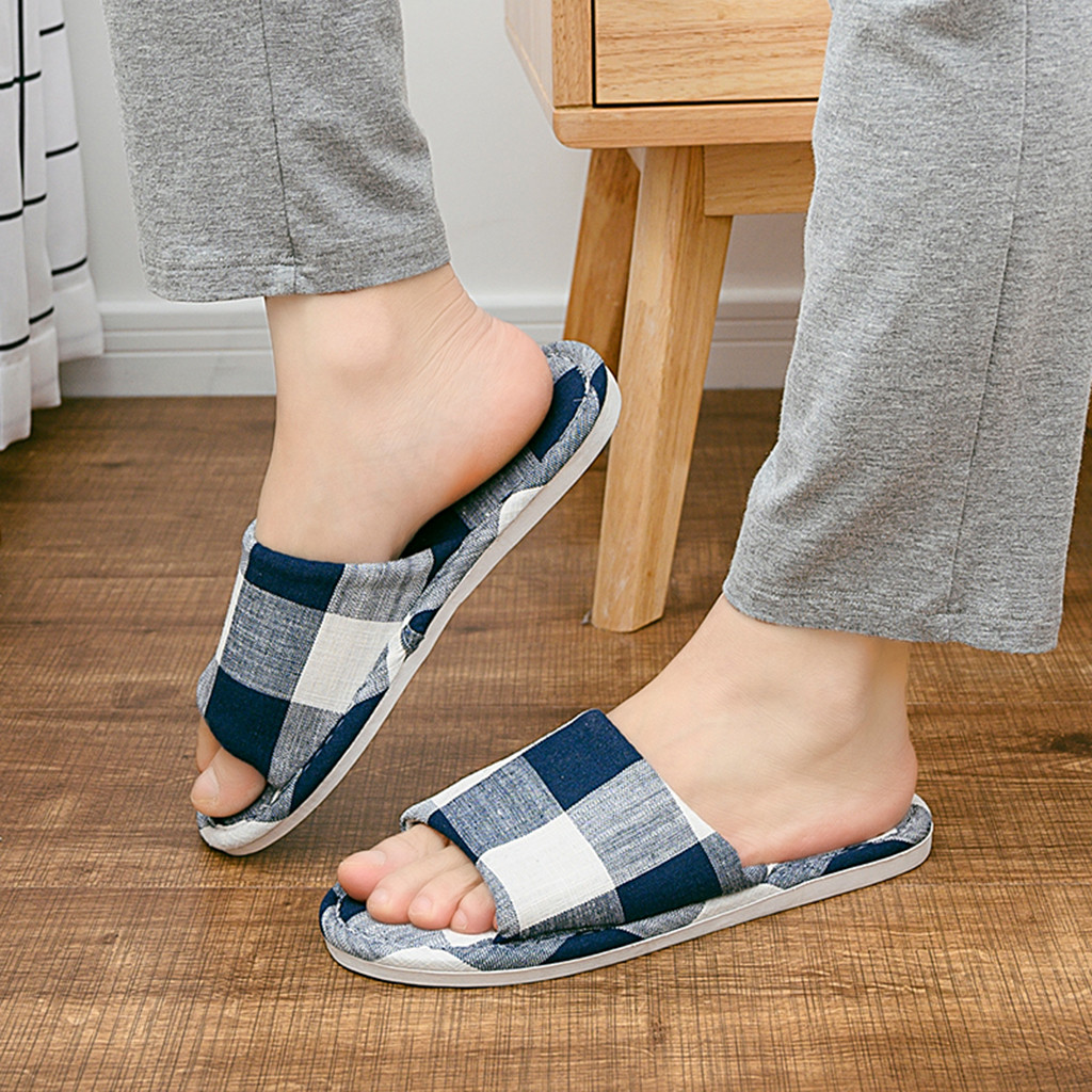 Slippers Men Slippers Men's Fashion Couples Casual Anti-slip Linen Home Indoor Open Toe Shoes Flip Flop Chanclas Hombre Klapki