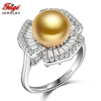 FEIGE New Fashion Luxury Pearl Ring S925 Silver Rings Inlay Cubic Zirconia 9 10MM Golden Freshwater Pearl Jewelry for Women Gift