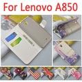Alta qualidade de luxo capa de couro para Lenovo A850 / 850 flip tampa da caixa com slot para LenovoA850 telefone casos