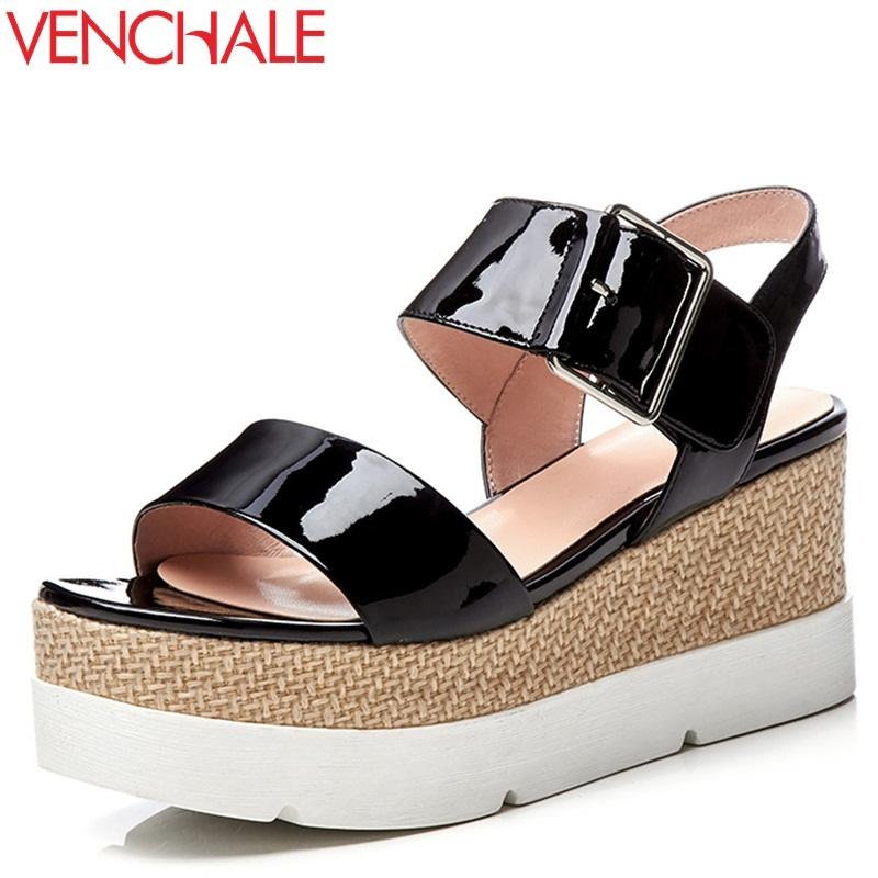 VENCHALE women shoes 2018 summer new sandals heel height 7 cm two colors genuine leather sandals wedges platform casual shoes venchale 2018 summer new fashion sandals wedges platform women shoes height heel 10 cm buckle strap casual cow leather sandals