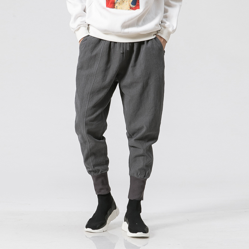 Men Cotton Linen Casual Pants Japanese Fashion Show Loose Trousers Male Plus Size Sweatpants