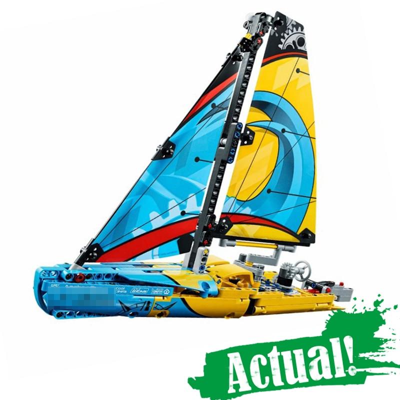 Lepin 20074 Série Technique Le Yacht de Course Ensemble 369 Pcs Bâtiment blocs Briques moteur Jouets Modèle Pour Enfants Comme Cadeaux legoing 42074