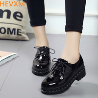 HEVXM Black Small Shoes Female British College Wind Students Korean Version Wave Of Wild Shoes 2017