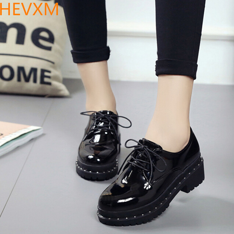 HEVXM Black small shoes female British college wind students Korean version wave of wild shoes 2017 spring new rough with shoes