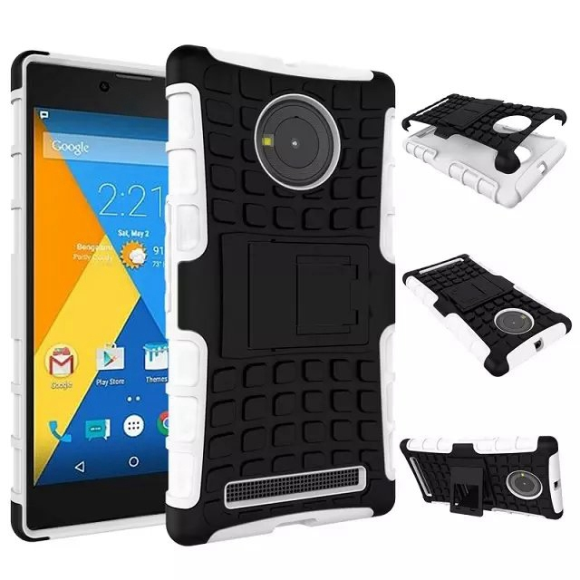 Heavy Duty Defender Hard Plastic Case With Silicon Cover With Hybrid Armor Kick Stand For Micromax Yu Yuphoria Case