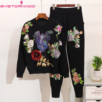 Women Sweater Suit and Set Autumn Winter 2PCS Track Suit Casual Flower Embroidery Sequins Knitted Trousers+Jumper Tops Sport Set