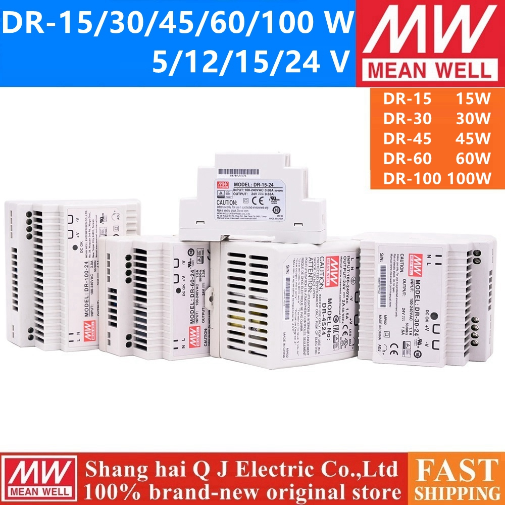 MEAN WELL DR 15W 30W 45W 60W DR-15 DR-30 DR-45 DR-60 -5 -12 -15 -24 DR-100-24 Single Output Industrial DIN Rail