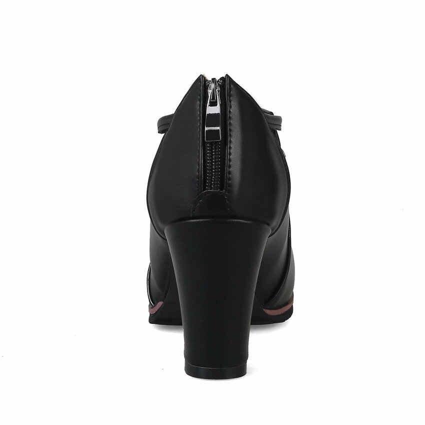 QUTAA 2018 Kadın yarım çizmeler PU deri Fermuar Kare Yüksek Topuk Yuvarlak Ayak Siyah Beyaz Moda Kadın Motosiklet Botları Boyutu 34 -43