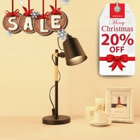 Simple Black Iron and Solid Wood Desk Night Lamp Home Office Durable LED Bulb Reading LOFT retro book Lighting