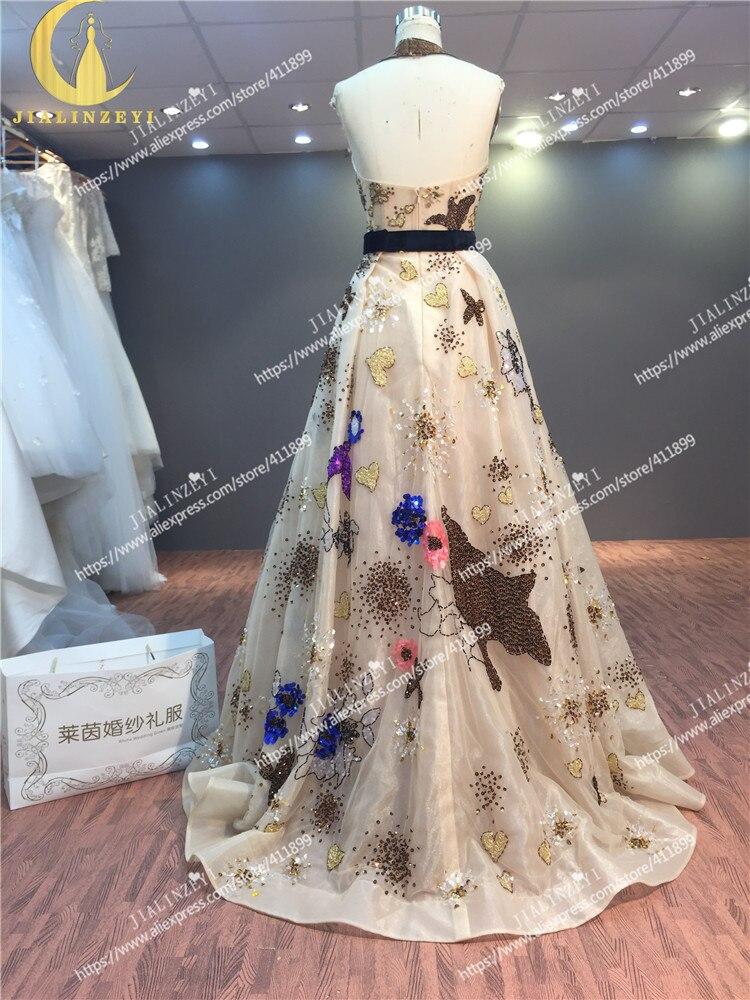 JIALINZEYI échantillon réel Image rhin Sexy Elie Saab licou Champange paillettes mode Sexy demi dos nu mode robes de soirée - 6