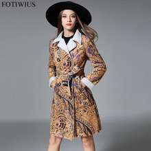 2018 Designer Brand Winter Fleece Suede Jacket Women Faux Leather Jacket Vintage Print Double Breasted Long Coats Outwear