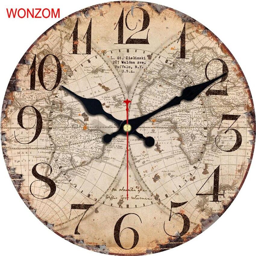 wonzom map design large wall clock silent living room flower coffee wall decor saat home decor - Designer Large Wall Clocks