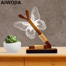 Wood 3d Led Light Table Lamp For Children Butterfly Luminaria De Mesa Luminarias Desk Lamps