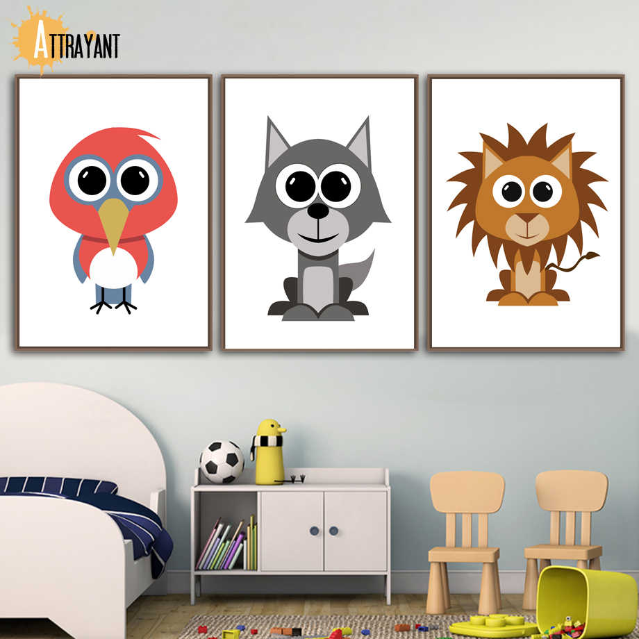 Abstract Cartoon Bird Wolf Dog Nordic Posters And Prints Wall Art Canvas  Painting Hand Draw Wall Pictures Baby Kids Room Decor