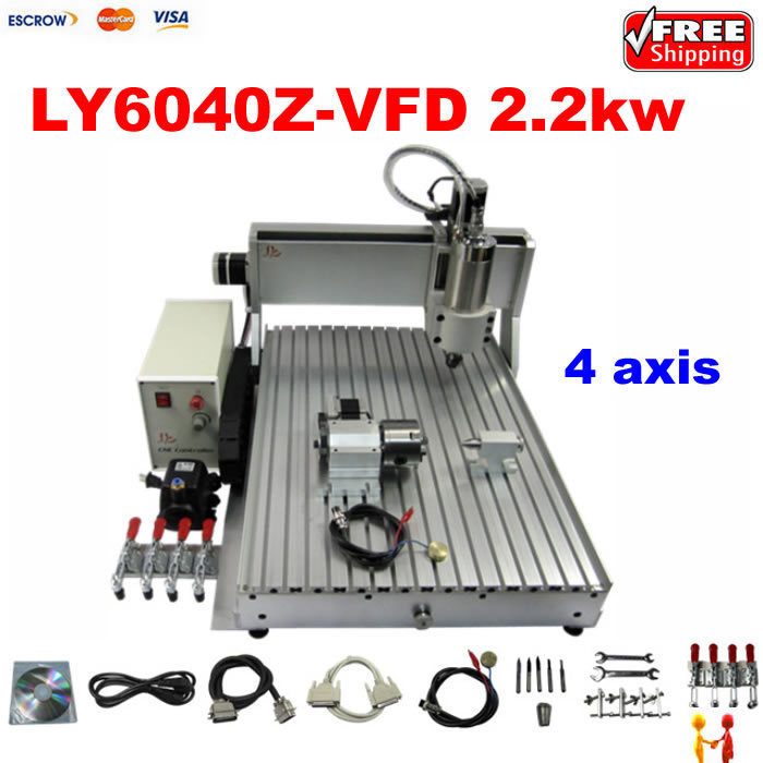 2.2KW stone aluminum metal wood 6040 3D cnc router carving drilling engraving machine with 4 axis