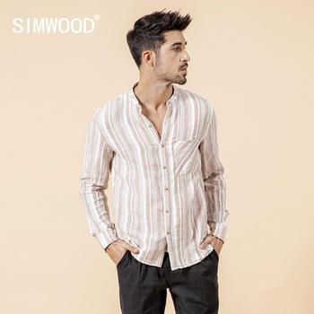 3b0d70d7221 SIMWOOD 2019 лен хлопковые рубашки мужские Весна-осень новый воротник-стойка  повседневные вертикальные полоски Длинные рукава плюс рубашка 190175