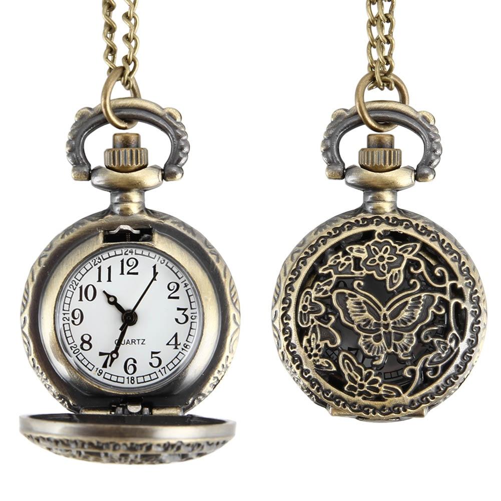 Fashion Women Quartz Pocket Watch Alloy Hollow Out  Butterflies Vintage Sweater Chain Necklace Pendant Clock Gifts LL@17