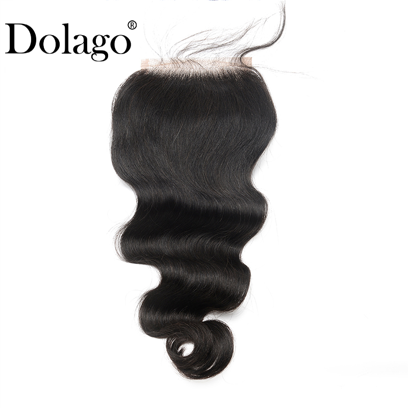 Dolago Body Wave 4X4 Lace Closure 100 Human Hair Remy Hair Natural Black Color Free Part