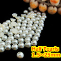 1.5mm~25mm All Size Choice Pearl White Color Flat back ABS round Half Pearl beads, imitation plastic half pearl beads
