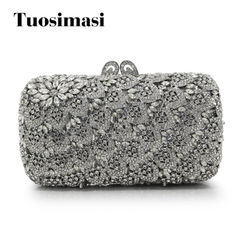 New Fashion Women Sliver Crystal Bag Ladies Evening Clutch Bags Hollow Rthinestone Party Cluthes(88240-SS)