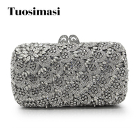 New Fashion Women Sliver Crystal Bag Ladies Evening Clutch Bags Hollow Rthinestone Party Cluthes(88240 SS)