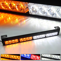 16 LED Emergency Warning Light Mini Bar Strobe Light for Snow Plow Police Firefighters Trucks Vehicles Magnetic Base 12V